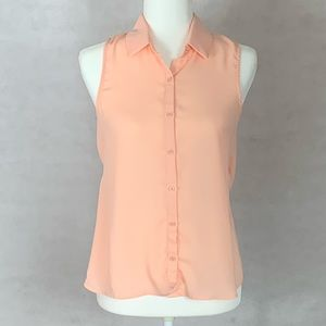 Elodie Pink Sleeveless Button Up Blouse Open Back